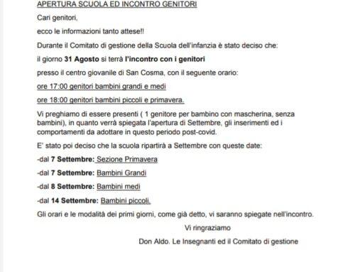 APERTURA SCUOLA ED INCONTRO GENITORI